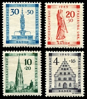 Lot 3801:1949 Freiburg Rebuilding Fund: Mi #38A-41A perfed set of 4, Cat €30 as hinged.