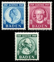 Lot 22673:1949 Goethe: Mi #47-9 set of 3 (10+5pf Type II), Cat €16 as hinged.