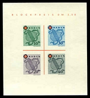 Lot 22676:1949 Red Cross: Mi #Block 2.I imperf MS Type I, MNG as issued, Cat €110.