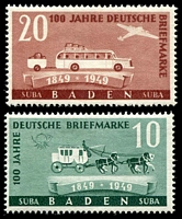 Lot 22674:1949 Stamp Centenary: Mi #54-5 pair, 20pf type II, Cat €13.