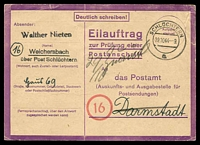 Lot 22590:1943-45 Postal Address Verification Card in violet, 1944 (Oct 19) use from Schüchtern to Darmstadt
