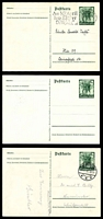 Lot 3785:1938 Austrian Plebiscite Mi #P268 6+4pf green x3, one unused, the 2nd used with brief message & the 3rd with special 10th April machine cancel, addressed, no message.
