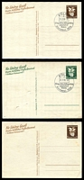 Lot 3520:1938 Cologne Carnival Mi #P276-7 6pf brown (small faults) unused & 6pf green and 6pf brown both with Köln special cancel and unaddressed