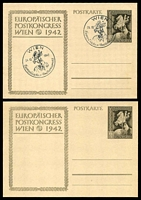 Lot 3614:1942 Postal Congress HG #P294a 6_4pf sepia on cream stock x2, one with Wien special cancel and unaddressed, the other unused.