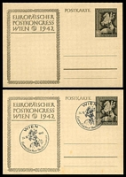 Lot 3521:1942 Postal Congress '19.Okt.1942' Overprint Mi #P295a 6_4pf sepia on cream stock x2, one with Wien special cancel and unaddressed (light tones), the other unused.