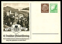 Lot 22251:1936 Stamp Day Mi #PP147 10pf brown Hindenburg+5pf green eagle with view in sepia, unused