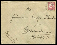 Lot 3870 [1 of 2]:1902 (Feb 24) use of 10pf Yacht on cover from Tsingtau to Wilhelmshaven.