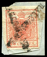 Lot 4100:1850 Imperf Arms SG #3c 15c red Type II, 4 margins, Cat £38. The stamp has been partly attached to a piece of paper and then the top half attached to the wrapper, crossed 'RACCOMANDATA' ties the stamp to both pieces of paper. Most unusual.