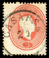 Lot 22509:1861-62 Franz Josef SG #25 5s dull red with 'CASARSA/21/[?]