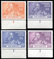 Lot 4213:1949 UPU SG #64-7 set of 4, all plate '1' singles.