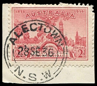 Lot 6460:Alectown: - 'ALECTOWN/28SE36/=N.S.W=' on 2d red SA Centenary on piece.  Renamed from Alicktown PO 1/8/1891; closed 30/9/1983.