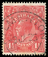Lot 1331:Aylmerton: - 28½mm 'AYLMERTON/9JA25/[N.S.W]' (ERD) on 1½d red KGV with [18R36] 4th pearl at left missing. [Very rare in RO period.]  RO 8/10/1920; PO 1/7/1927; closed 29/6/1979.