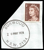 Lot 1342:Burwood: - 33mm nitrile 'BURWOOD/20MAY1974/N.S.W. 2134' on 1c brown on piece.  PO 1/10/1861.