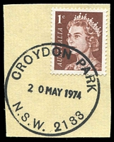 Lot 1241:Croydon Park (2): - 34mm nitrile 'CROYDON PARK/20MAY1974/N.S.W. 2133' on 1c brown on piece.  PO 1/9/1920.