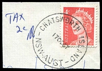 "Lot 5403:Chatsworth Island: 'CHATSWORTH ISLAND/17OC67/NSW-AUST' on 4c QEII on piece with mss ""Tax/2c"" alongside.  PO 1/10/1870."