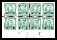 Lot 3995:1941 Surcharges SG #628 1d on ½d green BLC block of 8, 2 left columns with rectangles the rest with squares, few light tones.