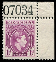 Lot 4028:1944 KGV SG #50b 1d bright purple corner single with sheet number.