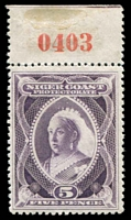 Lot 26016:1894 QV No Wmk SG #55a 5d deep violet marginal single with red sheet number, hinged in margin only, Cat £80 as normal.