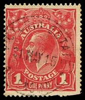 Lot 1686:Victoria Estate: - light clear 24½mm 'VICTORIA ESTATE/31MAY15/QUEENSLAND' (LRD) on 1d red KGV. [Rated 2R]  Renamed from Victoria RO c.1903; PO c.-/7/1906; closed 22/8/1980.