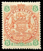 Lot 4100:1896-97 Scroll Behind Legs Die II SG #49 5/- chestnut & emerald, Cat £65.
