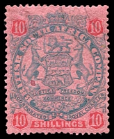 Lot 4348:1896-97 Scroll Behind Legs Die II SG #50 10/- slate & vermilion/rose, small red spot on face, Cat £75.