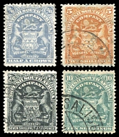 Lot 4190:1898-1908 Numeral Value Arms SG #85-9 2/6d, 5/-, 7/6d & 10/-, Cat £66. (4)