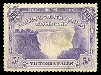 Lot 4350:1905 Victoria Falls SG #99 5/- violet P14, probably cleaned/repaired fiscal, Cat £120.
