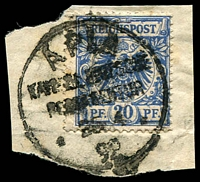 Lot 4338:1890-99 Vorläufer Mi #V48 20pf blue on piece with blurred Apia cancel of 1892, Cat €60.