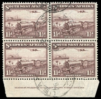 Lot 28452:1937 Mail Train SG #96 1½d used imprint block of 4, unusual.