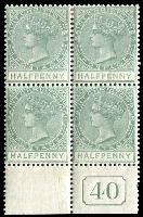 Lot 24595:1882-90 Wmk Crown/CA SG #11 ½d dull green marginal block of 4 with control '40', Cat £24 as normal.
