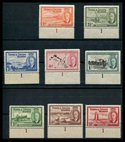 Lot 28482:1950 KGVI Definitives SG #221-7,229 ½d to 1/- (ex 6d) in plate '1' marginal singles. (8)
