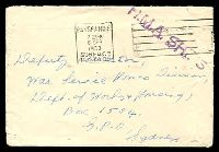 Lot 5600:1953 (Sep 8) stampless cover with 'PASSED FREE/730PM/8SEP/1952/SURFACE/POSTAGE' machine cancel, violet 'H.M.A. SHIP