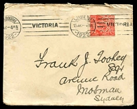 Lot 618:1922 (Sep 15) use of 2d red KGV perf 'OS' (Cat $150) on cover from House of Representatives, Melbourne, a few light spots