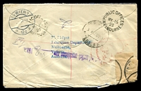 Lot 1109 [2 of 2]:1923 (May 15) registered cover from Public Offices, Melbourne to Vienna, festooned with stamps incl Qld 1d and Vic 2d. Damaged BLC repaired at Vienna.