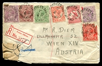 Lot 1109 [1 of 2]:1923 (May 15) registered cover from Public Offices, Melbourne to Vienna, festooned with stamps incl Qld 1d and Vic 2d. Damaged BLC repaired at Vienna.