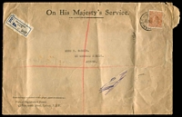 Lot 855 [1 of 2]:1931 (Sep 17) use of 5d KGV perf 'OS' (Cat $150) on registered cover from Nurses' Registration Board Sydney, blue & black C1 label.