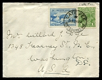 Lot 1112:1932 (Aug 17) use of 3d Bridge plus 1d green KGV (Late Fee) on cover from Melbourne to USA.