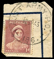Lot 856:Aust Army P.O. 'AUST ARMY P.O./17SE43/196.' (Tolga, Qld), on 1d QE, on piece.