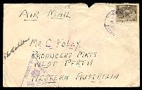 Lot 4942:Egypt violet 'EGYPT/7/8JU41/POSTAGE/PREPAID' (Tel el Kabir) on 9d Platypus on cover, violet triangle 'PASSED BY CENSOR/[crown]/No.1906