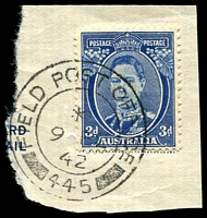 Lot 1167:Field Post Office British double-circle 'FIELD POST OFFICE/*/9FE42/445' (Rehovat, Palestine) on 3d blue KGVI on piece [Rated 300 by Proud]