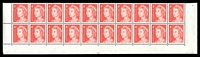 Lot 581:1966-73 4c QEII Helecon Ink BW #439zda plate '20' lower block of 20, unit 9/4 with State II retouch (red corner) (BW #439mb, Cat $60), five units hinged, Cat $30.