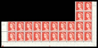 Lot 876:1966-73 4c QEII Helecon Paper BW #440zda plate '20' irregular lower block of 24, unit 9/4 with State I retouch (BW #440ma, Cat $25) and unit 7/9 with Retouch between AL of AUSTRALIA (BW #440), seven units hinged, Cat $30.
