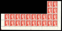 Lot 585:1966-73 4c QEII Helecon Paper BW #440zda plate '20' irregular lower block of 24, unit 9/4 with State II retouch (BW #440mc, Cat $75) and unit 7/9 with Retouch between AL of AUSTRALIA (BW #440), three units hinged, Cat $30.