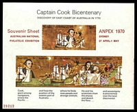Lot 612:1970 Cook Bicentenary Miniature sheet Optd Anpex 1970 and numbered.