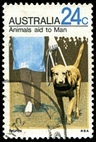 Lot 893:1971-72 Animals BW #562i 24c Guide Dog with V shaped flaw on lady's left knee, Cat $12.