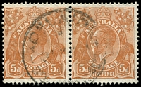 Lot 825:5d Orange-Brown Die II - [2R8] Broken shading line at back of King's head near hair line etc - State II - white dot under right 5 almost absent, in pair with 2R7.