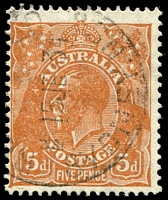 Lot 827:5d Orange-Brown Die II - [2R49] Notch on white border of left value tablet opposite foot of 'd'.