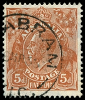 Lot 829:5d Orange-Brown Die II - [3L3] White spot on emu's back etc