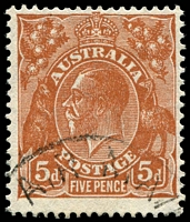 Lot 2924:5d Orange-Brown Die II - BW #127(3)e [3L5] Flaw behind King's neck, Cat $25.