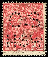Lot 499:1½d Red Die I [17L28] Coloured flaw at highest point of right curve and coloured line to right of top left angle, perf 'OS/NSW'